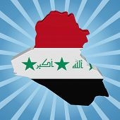 image of iraq  - Iraq map flag on blue sunburst illustration - JPG