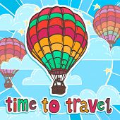 stock photo of bon voyage  - Travel poster with colorful flying hot air balloon vector illustration - JPG