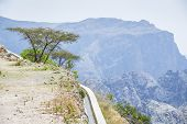 stock photo of jabal  - Image of water delivery system and landscape Jebel Akhdar Saiq Plateau in Oman - JPG