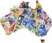 stock photo of hemisphere  - Map of Australia with Australian money dollar notes - JPG