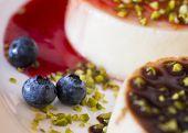 pic of panna  - blueberries close up with panna cotta italian dessert - JPG