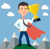 pic of heroes  - businessman hero standing on top of the world with a trophy  - JPG
