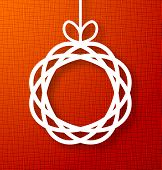 foto of applique  - Abstract Circle Paper Applique on Red Canvas Background - JPG