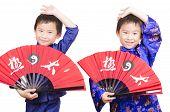 stock photo of tai-chi  - Smart twin boys performing a Tai  - JPG
