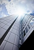 stock photo of frankfurt am main  - futuristic skyscraper office building seen from below Frankfurt am Main Germany - JPG