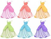picture of fancy-dress  - Illustration of dresses in different colors - JPG