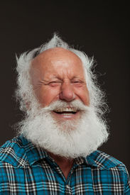 stock photo of long beard  - old man with a long beard wiith big smile on a white background - JPG
