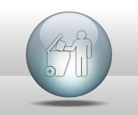 image of dumpster  - Icon Button Pictogram with Trash Dumpster symbol - JPG