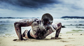 picture of morbid  - young man with a zombie body painting - JPG