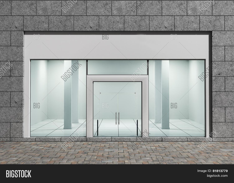 Modern empty store front big image photo bigstock for Window and door store