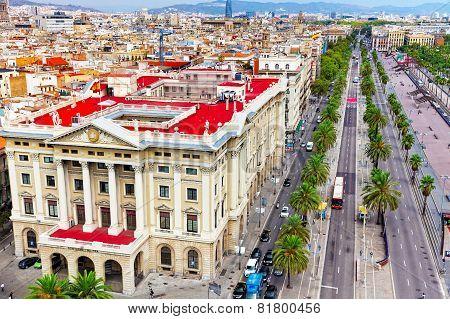 Panorama on Barcelona city .
