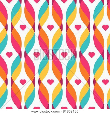 Design Elements - Colorful Waves With Small Hearts
