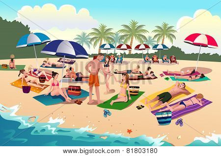 People Sunbathing On The Beach