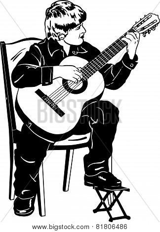 Vector Sketch Of A Boy Playing Music On A Guitar