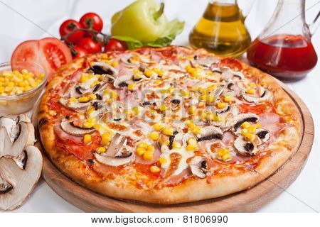Pizza Milano With Corn And Mushrooms