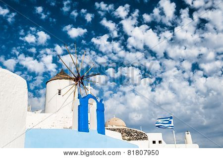 Windmill In Oia Town