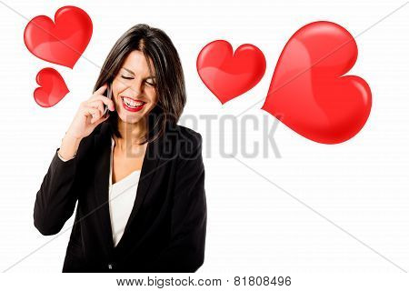 young woman in love at phone