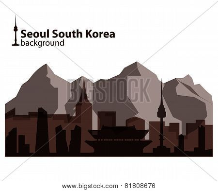 Seoul, South Korea skyline illustration