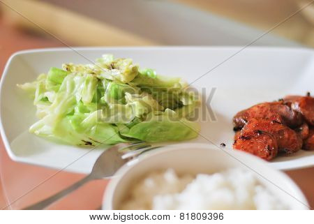 Green Cabbage And Chinese Sausages