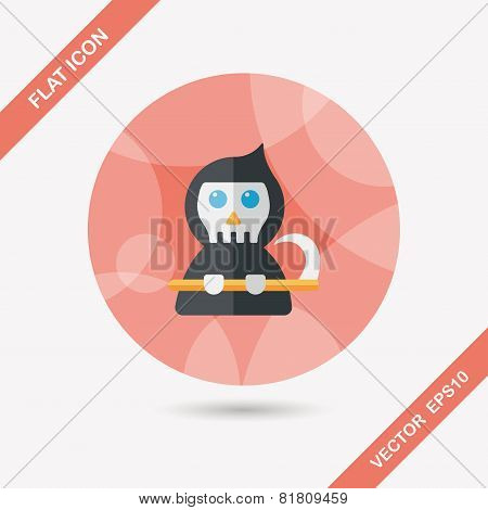 Halloween Death Flat Icon With Long Shadow,eps10