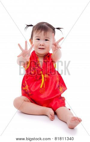 Little Asian Girl (thai) In Traditional Chinese Cheongsam