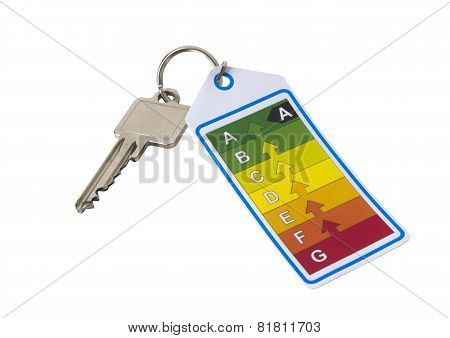 Home Key With Energy Label On A White Background