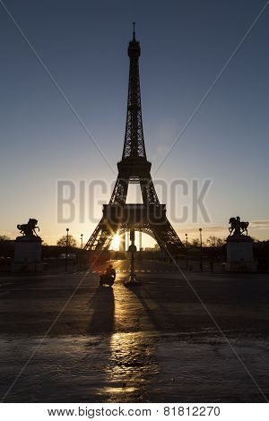 Eiffel Tower In Paris In The Sunrise With Scooter And Shadows