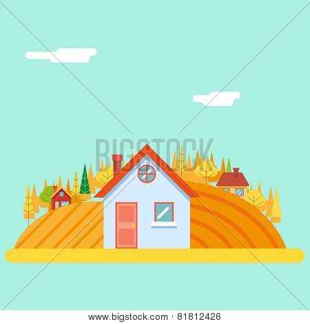 Seasons Change Autumn Village Hills Field Landscape Icon Website Greeting Card Flat Design Vector Il