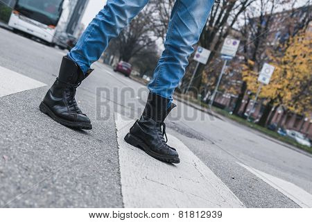 Detail Of A Punk Guy Posing In The City Streets