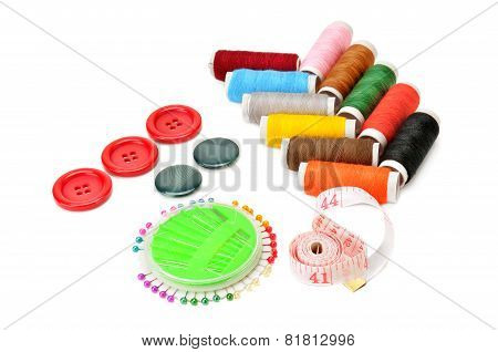 Thread And Buttons Isolated On White Background