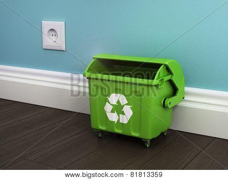 Office Garbage Near Metal Basket.
