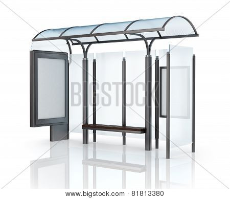 Bus Stop With Banner.