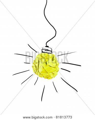 Paper Lightbulb On A White Background