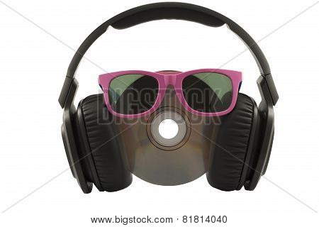 Music Concept, Headphone And Cd With Sun Glasses