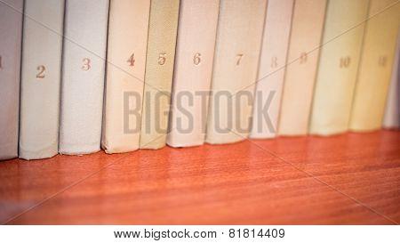 Books on wooden shelves