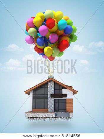 Surreal Scene Of A House Lifted To The Sky By Air Balloons. Concept.