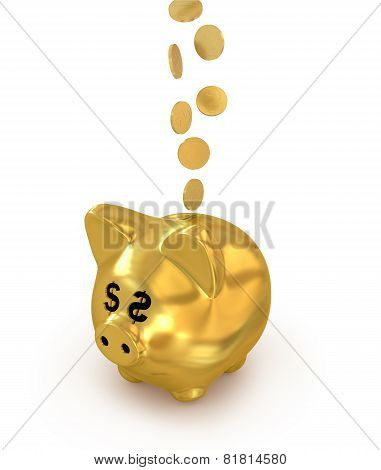 Olden Coins Falling Into A Gold Piggy Bank Isolated On White Background