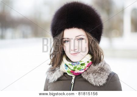 Calm-eyed Woman In The Park