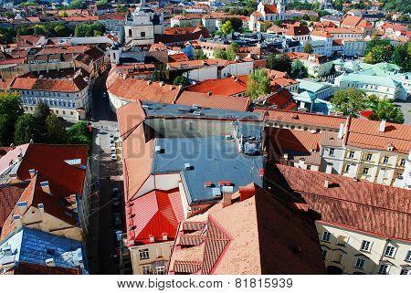 Vilnius City Aerial View From Vilnius University Tower