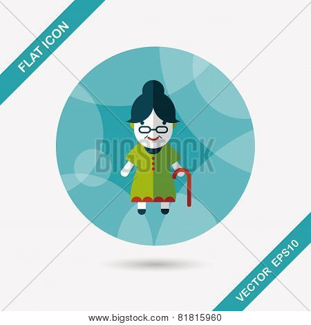 Old Woman Flat Icon With Long Shadow,eps10