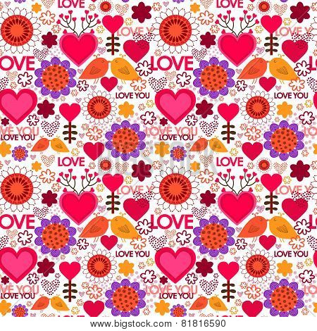 Valentine's day Seamless pattern with hearts, birds and flowers.