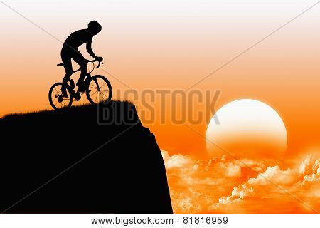 Biker with sunshine