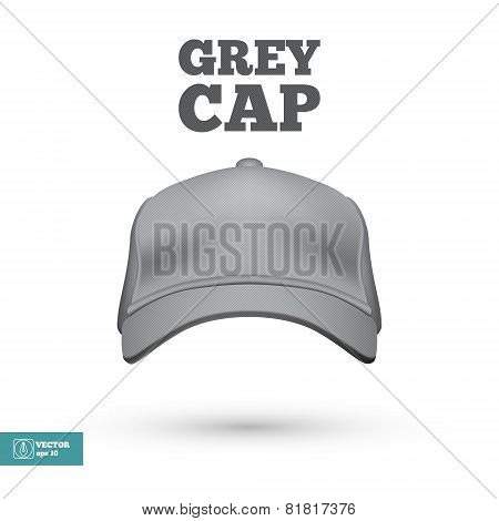 Grey Cap isolated on white. Vector