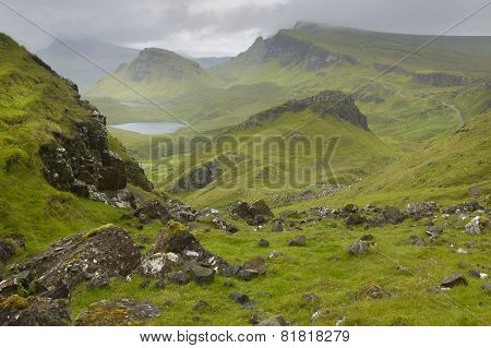 Scottish Basaltic Landscape In Skye Isle. Quiraing. Scotland. Uk