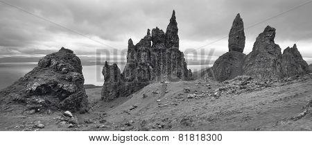 Scottish Basaltic Landscape In Skye Isle. Old Man Of Storr