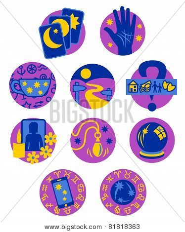 Psychic fortune teller symbols, purple blue yellow