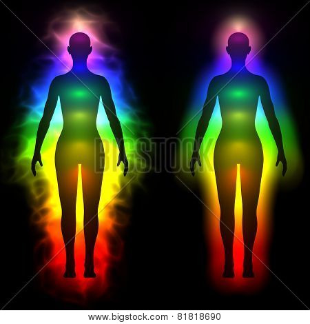 Rainbow aura of woman - silhouette