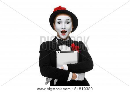 surprised mime isolated on white background