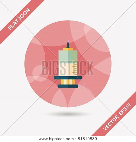 Syringe Flat Icon With Long Shadow,eps10