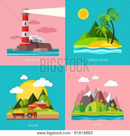 Nature various subjects lighthouse, island, farm, mountain. Vector in flat design style.